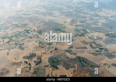 aerial morning view landscape of the Greek side of Cyprus - Stock Photo