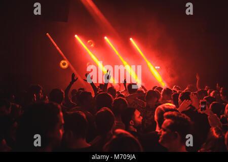 A crowd enjoying music at a London nightclub - Stock Photo