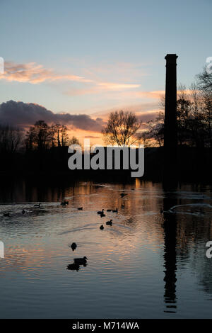 Kidderminster, UK. 7th March, 2018. UK weather: a glorious sunset is reflected in the water ripples on this wildlife - Stock Photo