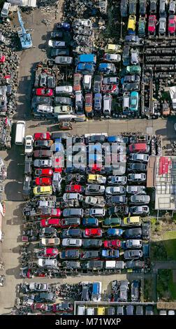 Aerial view, car junkyard, recycling, Strothmann Autoteile GmbH & Co. KG, shaft Kuhle, junkyard, Industrial Park - Stock Photo