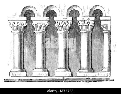 Architectural drawing of Norman capitals.The architectural meaning of capital is a wide crown to a column or pilaster, - Stock Photo