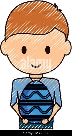uncolored  boy  with easter egg doodle  over white  vecor illustration - Stock Photo