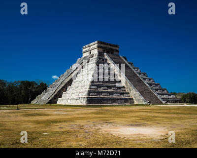 El Castillo, The Pyramid of Kukulkán, is the Most Popular Building in the UNESCO Mayan Ruin of Chichen Itza Archaeological - Stock Photo