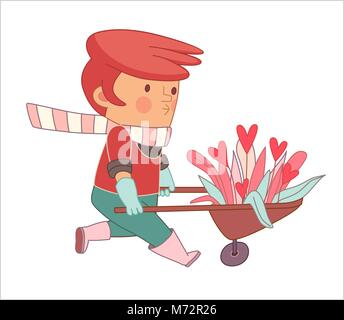 Love Gardener, cartoon  vector illustration, a read-hired gardener wearing gloves and pink rubber boots weeling - Stock Photo