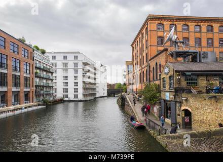 View of Regent's Canal, near Camden Lock Market, London, UK. - Stock Photo