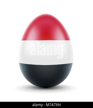 High quality realistic rendering of an glossy egg with the flag of Yemen.(series) - Stock Photo