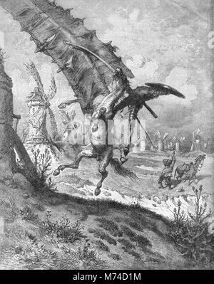 Don Quixote, Sancho Panza and the windmills, an illustration by Gustave Dore from an 1880 edition of Cervantes' - Stock Photo