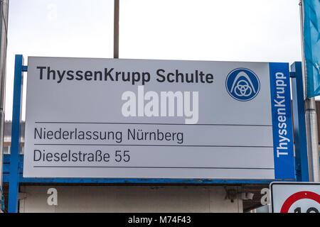 NUERNBERG / GERMANY - MARCH 4, 2018: German steel producer ThyssenKrupp logo on entrance building. - Stock Photo