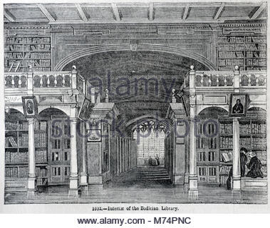 Interior of the Bodleian library, University of Oxford 1602, antique engraving from 1860 - Stock Photo