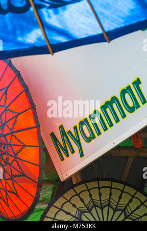 Details of parasols with sign at Bagan, Myanmar (Burma), Asia in February - Stock Photo
