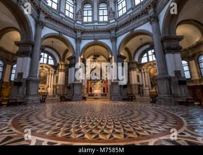 Inside view of the floor, arches and dome at the Basilica di Santa Maria della Salute, Venice, Italy - Stock Photo