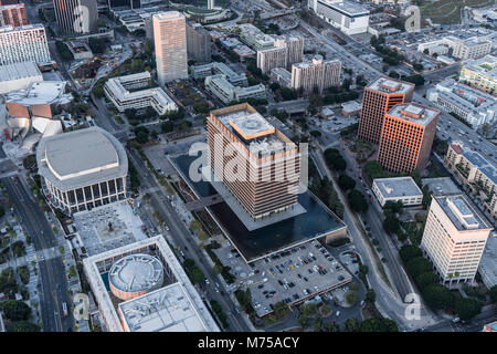 Los Angeles, California, USA - February 20, 2018:  Aerial view of the Department of Water and Power headquarters - Stock Photo