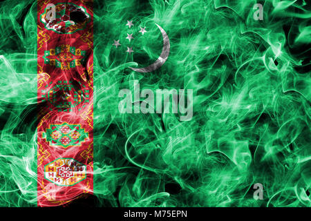 Turkmenistan smoke flag - Stock Photo