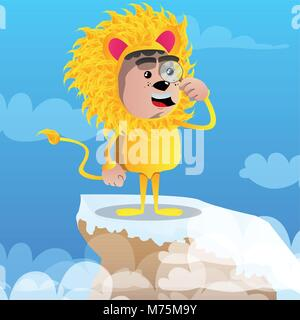 Boy dressed as lion holding a magnifying glass. Vector cartoon character illustration. - Stock Photo
