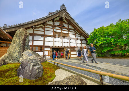 Kyoto, Japan - April 27, 2017: people and tourists visit the Kuri building or Temple Living Quarters, one of the - Stock Photo