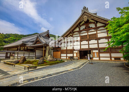 Kyoto, Japan - April 27, 2017: Kuri or Temple Living Quarters, one of the major buildings of Zen Temple Tenryu-ji - Stock Photo