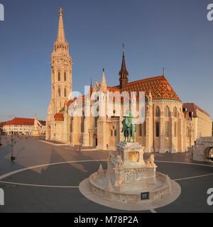 Equestrian statue of King Stephen I, Matthias Church, Fisherman's Bastion, Budapest, Hungary, Europe - Stock Photo