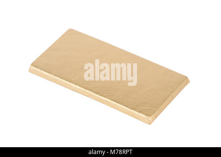 top view closeup of chocolate candy bar wrapped in golden foil packaging isolated on white background - Stock Photo