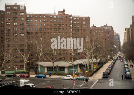 The massive NYCHA Elliot Houses complex of apartments in Chelsea in New York is seen on Saturday, February 24, 2018. - Stock Photo