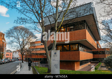 London, UK - March 8, 2018: Inner London Borough of Kensington and Chelsea Town Hall on Holland Street. The Borough - Stock Photo