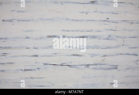 Old weathered white painted wooden board texture, background - Stock Photo