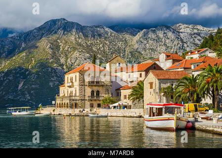 Perast town in the Bay of Kotor, Montenegro - Stock Photo