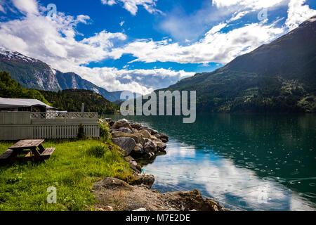 Beautiful Nature Norway natural landscape. lovatnet lake. - Stock Photo