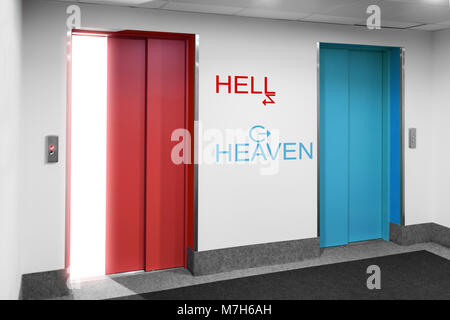Front view of modern elevator with open and closed doors to the heaven and hell with arrow - Stock Photo