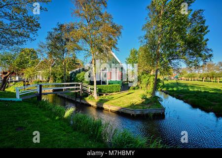 Farm houses in the museum village of Zaanse Schans, Netherlands - Stock Photo