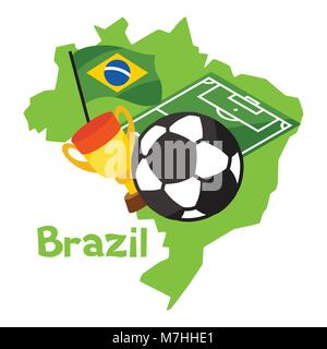Stylized map of Brazil with soccer ball and flag - Stock Photo