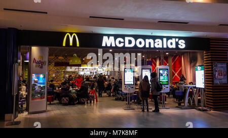 GENOA (GENOVA), ITALY, DECEMBER, 20, 2017 - McDonald's restaurant inside a shopping center of Genoa (Genova),  Italy. - Stock Photo