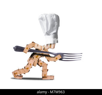 Chef box character holding a large fork like a spear. White hat and white background. Cooking, job and food concept. - Stock Photo