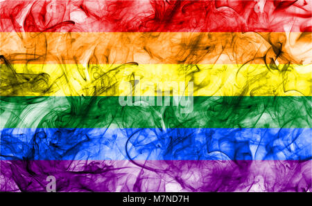 Gay smoke flag, LGBT pride flag - Stock Photo