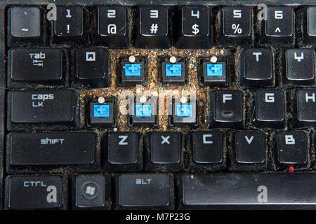 Close up on filthy computer keyboard with a few keys removed, cleaning debri that has collected under keys. keyboards - Stock Photo