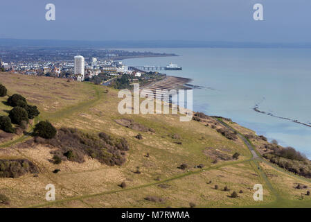 Eastbourne, East Sussex, seen near the end point of the South Downs Way near Beachy Head. - Stock Photo