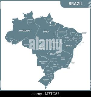 The detailed map of the Brazil with regions or states - Stock Photo