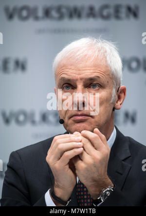13 March 2018, Berlin: Matthias Mueller, chairman of the board of Volkswagen AG, presenting the automotive enterprise's - Stock Photo