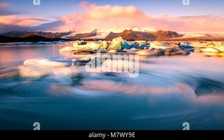Jökulsárlón lagoon, Vatnajökull National Park, Höfn district, Iceland - Stock Photo
