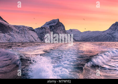 Norwegian's fjord, Mefjorvaer village, Senja island, Norway - Stock Photo