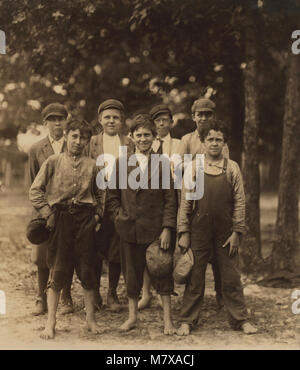 Typical Group of Mill Boys, Highland Park Settlement, Rock Hill, South Carolina, USA, Lewis Hine for National Child - Stock Photo
