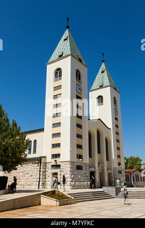Medjugorje, Bosnia and Herzegowina, July 15 2017: Saint James Church in Medjugorje is a popular destination for - Stock Photo