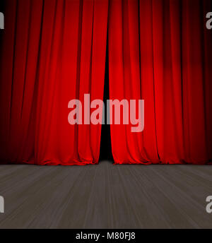 theater red curtain slightly open and wood stage or scene - Stock Photo