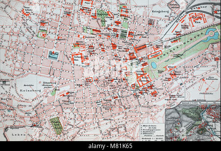 city map from the year 1892: Stuttgart, Germany, digital improved reproduction of an original print from the year - Stock Photo