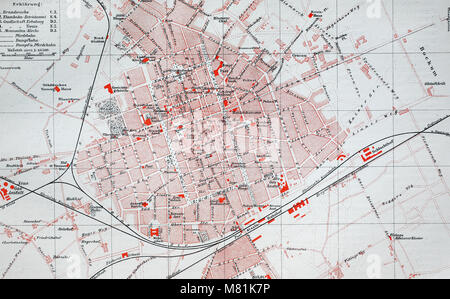 city map from the year 1892: Krefeld, Germany, digital improved reproduction of an original print from the year - Stock Photo