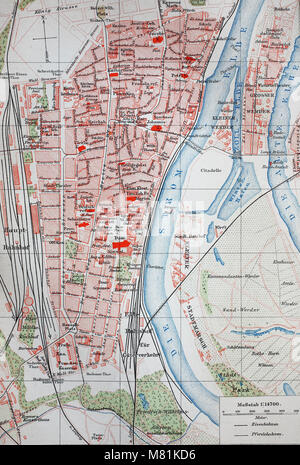 city map from the year 1892: Magdeburg and river Elbe, Germany, digital improved reproduction of an original print - Stock Photo