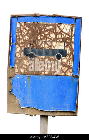 Old Bus Sign Transportation Symbol. Old Rusty Road Sign Consumed by the Time. - Stock Photo