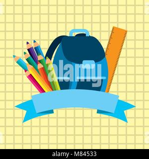 back to school equipment backpack ruler colored pencils on paper vector illustration - Stock Photo