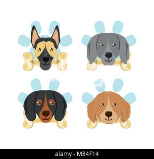 icon set of dogs with bones over white background, colorful design vector illustration - Stock Photo