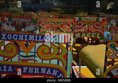 Trajineras in Xochimilco, Mexico City - Stock Photo