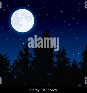 vector background with glowing moon in night sky and dark forest trees. full moon phase. eps10 illustration - Stock Photo